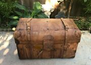 Vintage 1920-40and039s Antique Sole Leather Stagecoach Steamer Trunk