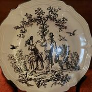 Tabletop New England Toile Brown Man Woman Dancing Dinner Plate 10 3/4 Harvest