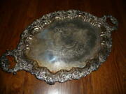 Vtg Victorian Large Gorham Silver Butlers Serving Platter Tray 11 Pounds Footed