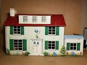 Vintage 1950and039s Marx Tin Litho 2 Story Colonial Dollhouse Green