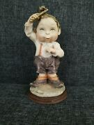 Vintage Italian Guiseppe Armani Gulliver's World Boy Combing Hair Signed Figurin