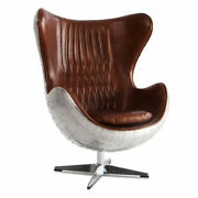 Marquesslife Handmade 100 Genuine Leather Industrial Style Egg Chair Wing Back