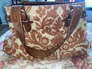 Liz Claiborne Leather And Linen Three Section Large Purse Tan Rust
