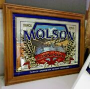 Vintage Molson Beer Wood Framed Bar Mirror Flying Geese 20 X 16 Mountains Lake