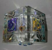 Crystal And Dichroic Glass Cube Paperweight By Lapsys Studio - Art Glass
