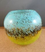 Murano Style Blue Brown Lime Yellow Smear Spots Fish Bowl Art Glass Vase 5