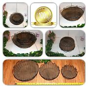 Couture Home Decor 3 Round Wicker Woven Wrought Iron Handles Lg/med/sm Baskets