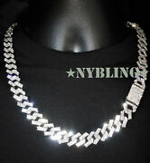 Miami Cuban Chain Necklace Or Bracelet Mens Hip Hop Jewelry Diamond Prong Style