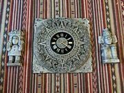 Vintage Mayan Aztec Wall Clock With 2 Wall Totems New Haven Burwood 1968