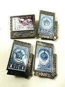 1971 Russia Ussr Postal Stamp Design Enamel Space And Star Awards Lot Of 4 Pins