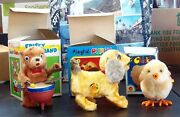 Vintage Wind-up Toys, Bear, Puppy, Chicken, W/boxes - All Work