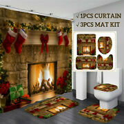 Usa Christmas Fireplace Shower Curtain Bathroom Waterproof Carpet Toilet Cover