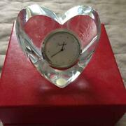 Baccarat Heart-shaped Table Clock Crystal Good Condition