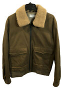 Vince Menandrsquos Faux Shearling Trim Bomber Jacket Infantry Green Xl Nwt Msrp 495