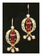 14 K Gold Rapunzel Ruby Diamond And Pearl Earrings Museum Of Jewelry