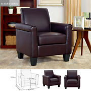 Modern Faux Leather Accent Single Sofa Chair Uplostered Living Room Arm Chairs