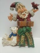 David Frykman 02and039 Make Room For Santa Carving Signed Whimsical Figurine 7x5x3