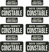 Boyd County Constable Emb Patch 4x10 And 2x5 Hook On Back Blk/white