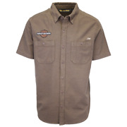 Harley-davidson Menand039s Brown Skull Flags S/s Woven Shirt S20