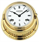 Wempe Cw110001 Globaltec Nautical Brass Porthole Clock Quartz 120 X 38mm W/b