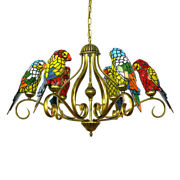 Style Stained Glass Parrot Chandelier Living Room Ceiling Light Fixture