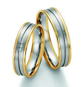 Pair Wedding Rings Engagement Rings Gold Brillant With
