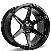 4 22 Staggered Ace Alloy Wheels Aff06 Gloss Black With Milled Accentsb41