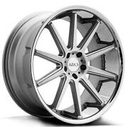 4 22 Staggered Azad Wheels Az95 Silver Brushed With Chrome Ss Lip Rimsb41