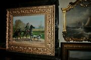Large Vintage Mounted Horse With Pack Horse And Dog Oil Painting By D. Davidson