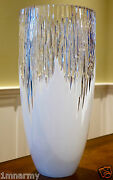 Faberge Glacon Collecton Vase 14h Signed Genuine Cased Crystal