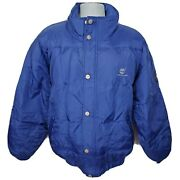 Goose Down Fill Sports Series Bomber Jacket Size L Blue 90s Deadstock