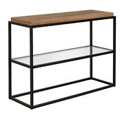 Hennandhart 42 Black And Bronze Metal Console Table With Rustic Oak Wood Shelf