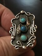 Vintage Navajo Art Deco Sterling Silver Turquoise Ring Size 7