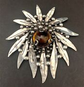 Antique Mary Gage Sterling Silver Citrine Handwrought Brooch 3 1/2
