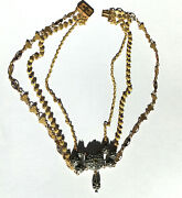 Antique French Yellow Gold Enamel Diamond Necklace Collier 18th / 19 Th Rare