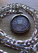 1900-1901 Guatemala 1/2 Reale Coin Pendant On An 18 925 Sterling Silver Chain