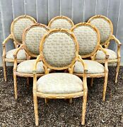 1970s Louis Xvi Faux Bois Armchairs With Donghia Upholstery - Set Of Six