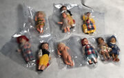 Lot Of 10 Vintage Antique Italian Small Moving Eyes Doll Figurines Made In Italy