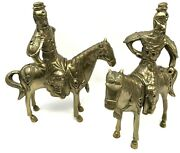 Set Of 2 Vintage Brass / Bronze Figurines Asian, Chinese Warriors On Horses