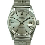Rolex 6466 Oysterdate Precision Stainless Steel Silver Dial Watch