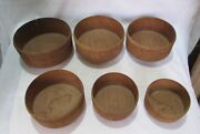 Indian Old Antique Hand Made Unique Wooden 6pc Bowl Used By Jain Priest