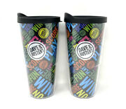 Lot Of 2 Dave And Busters 23oz Tumblers Plastic Cup W/ Lid Multicolor