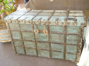 Antique Indian Teak Wood And Hammered Iron Damchiya Dowry Chest 16th Century