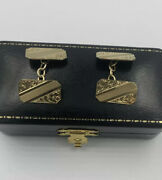 9ct Yellow Gold Cufflinks Engraved Hallmarked 1914 Smith And Pepper