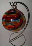 Rainbow Glass Globe Ornament With Stand By Glass Eye Studio - Crafted Art