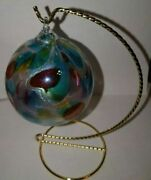 Colored Glass Globe Ornament With Stand By Glass Eye Studio - Crafted Art
