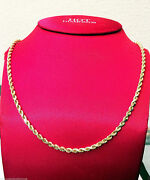 10k Real Yellow Gold Necklace Hollow Rope Chain 2mm - 6mm 16 30 Inch Men Woman