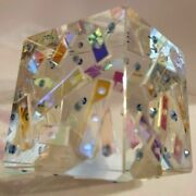 Crystal And Dichroic Glass Cube Paperweight By Lapsys Studio - Decorative Art