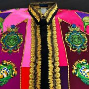 Gianni Versace Istante Silk Shirt Coat Of Arms Of Tuscany Print Size It 46 1993