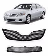 For 10 11 Toyota Camry Front Grille Upper Lower Grill Grille Black Mesh Set 2pc